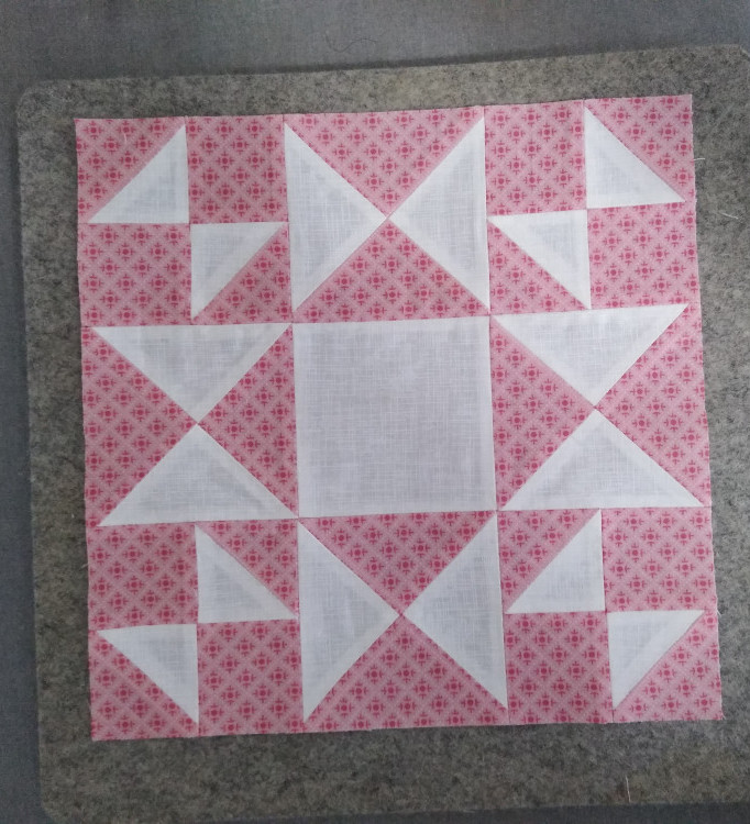 Block 1 from Sewcialites QAL using Lori Holt's Prim fabric by Riley Blake (print) and Quilter's Linen fabric by Robert Kaufman (white)