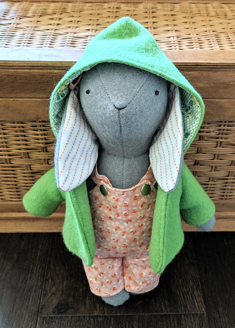 Wool bunny with overalls and jacket made by Maggie of Fabric Mutt
