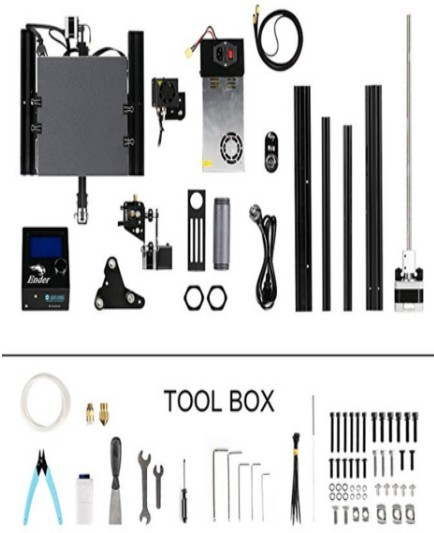 Image of the components and tools that come with the Ender 3 printer