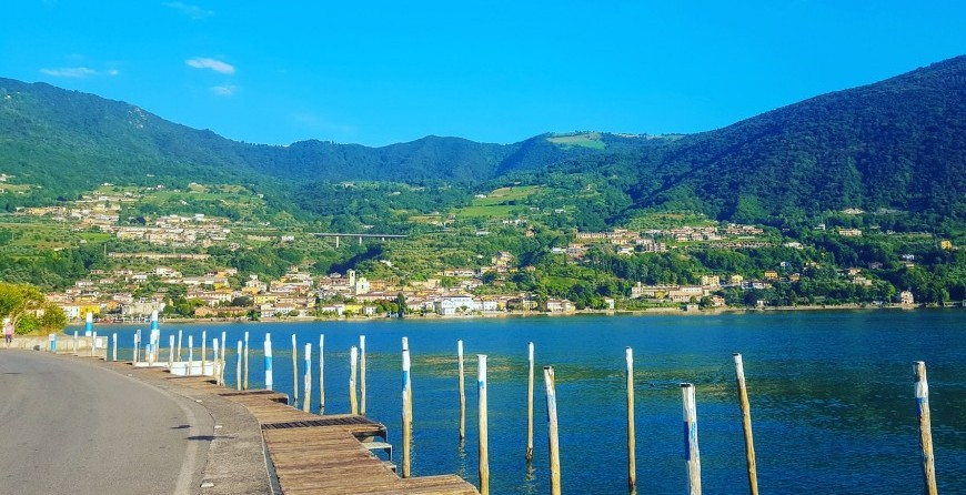 Caption of Lake Iseo located in close proximity of Brescia