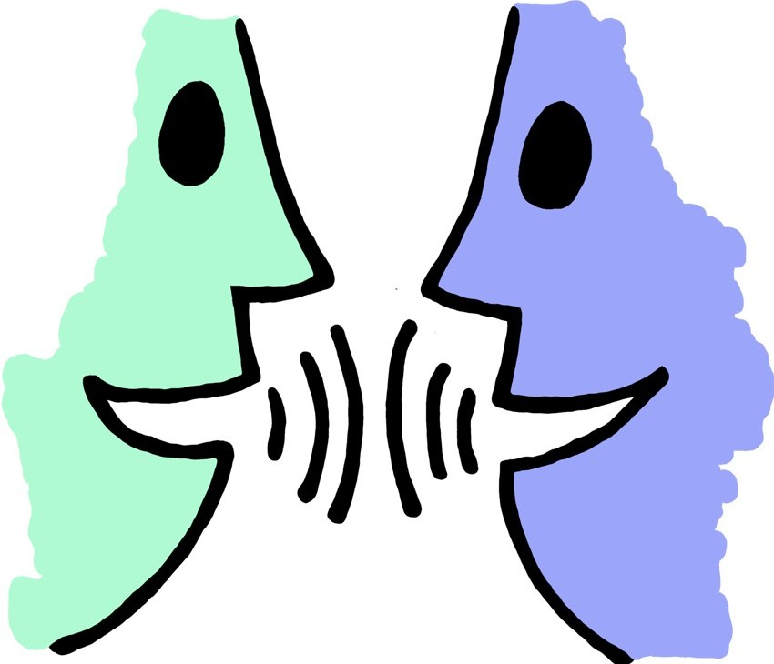 2 animated faces looking at each other and talking