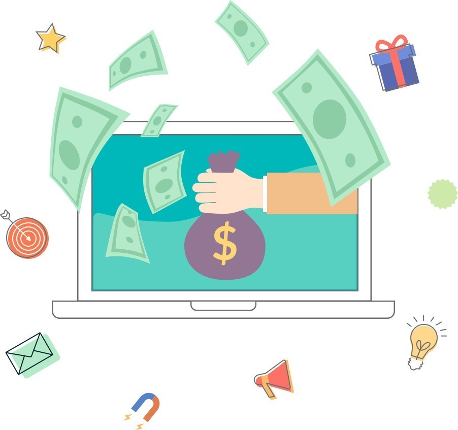 A laptop with an arm holding a bag of money pulling out of the laptop and money floating around the laptop