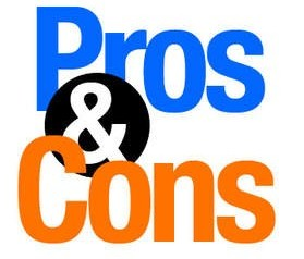 Blue and orange writing saying pros and cons
