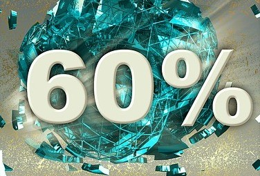 A banner saying 60%