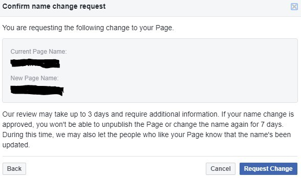 Confirm FB page name change