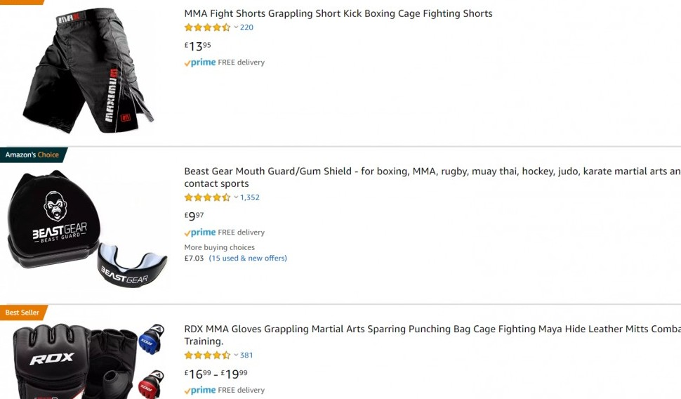 Amazon MMA products - MMA Affiliate Programs