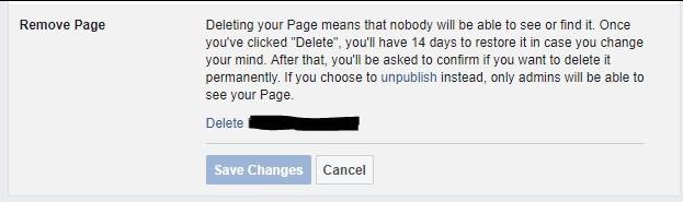 Delete FB page