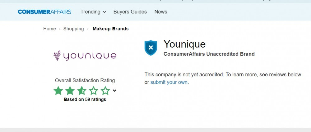 Younique consumer affairs rating
