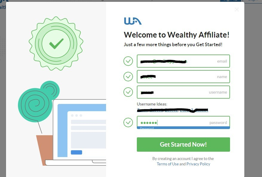 Wealthy affiliate complete sign up