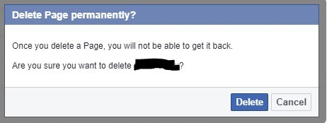 Confirm permanent deletion of FB page