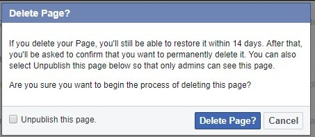 Confirm FB page deletion