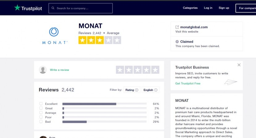 Monat Global Trustpilot reviews