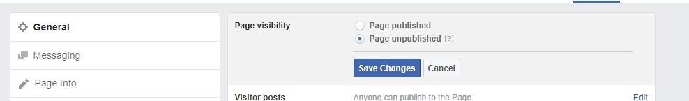 Unpublish FB page