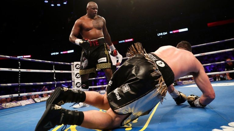 Whyte knocks down Parker for the first time.