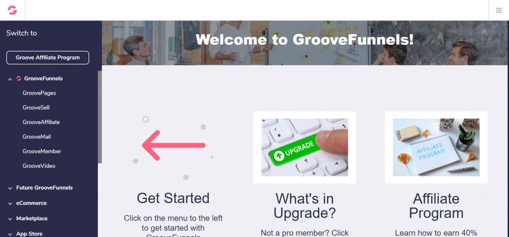 GrooveFunnels dashboard