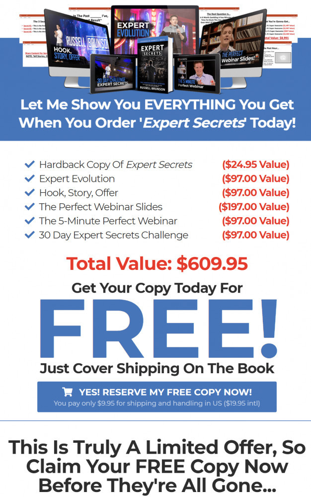 Free expert secrets book and ebook plus bonuses