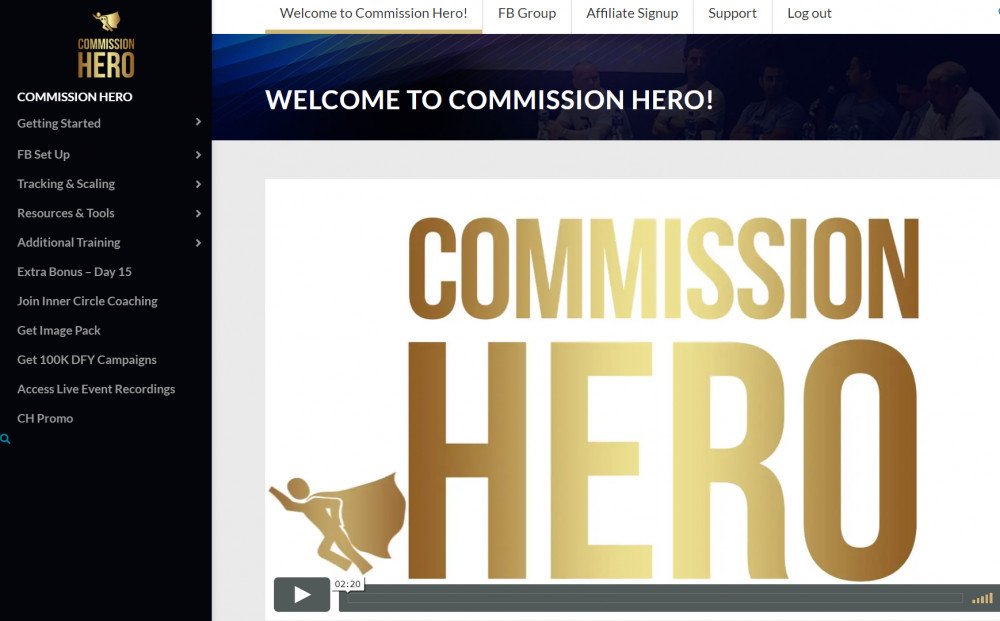 Commission Hero Members area