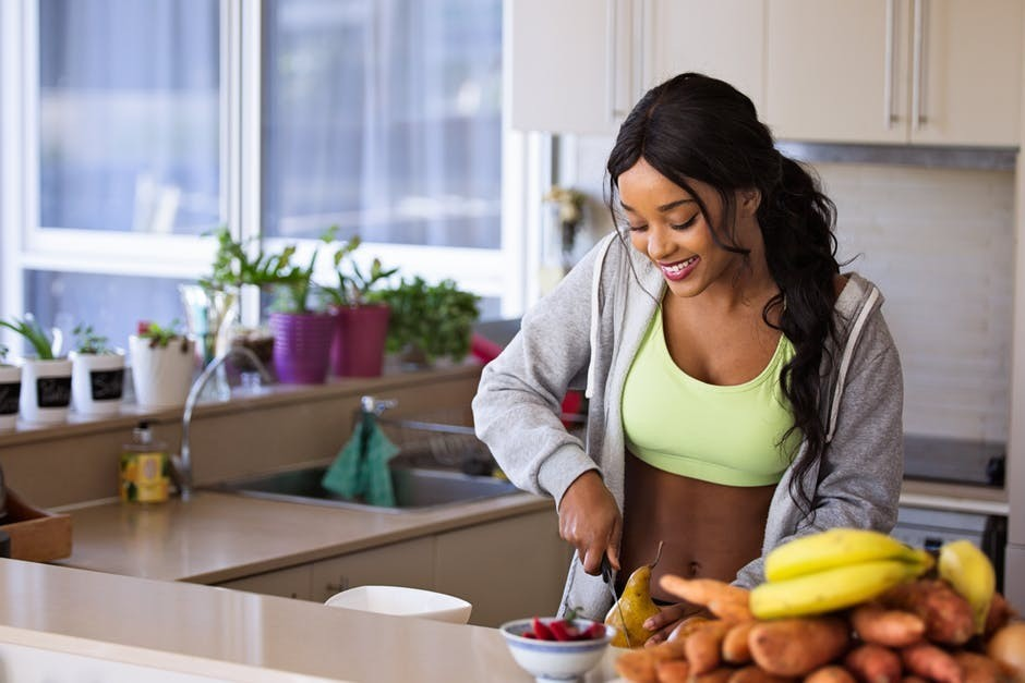 how to stay healthy with girl cooking healthy
