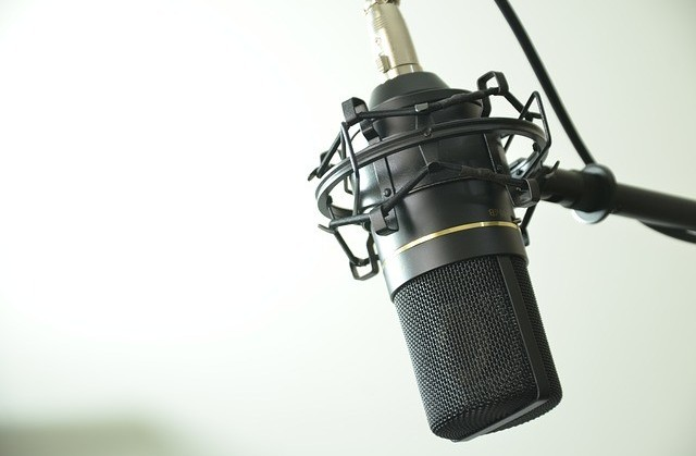 a microphone in a white background