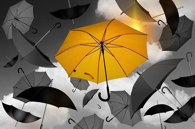 yellow umbrella unique