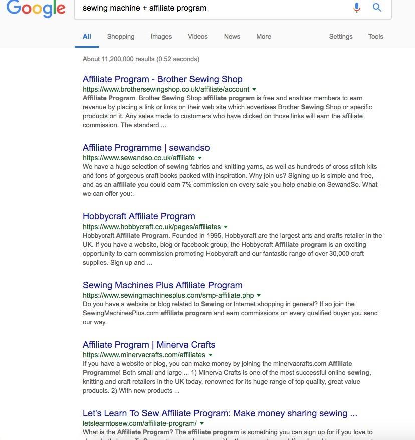 Sewing machine affiliate program search