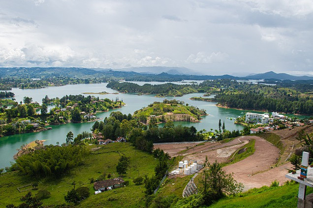 A photo of the view from Guatape Rock Colombia used in the article, Best of Medellin, Cartagena and the Pacific Coast of Colombia.