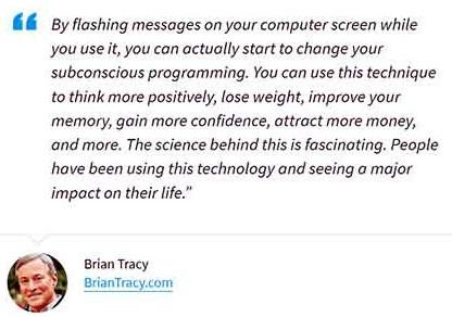 Brian Tracy endorses Subliminal 360