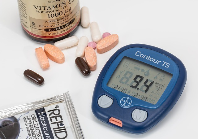Diabetes, pills , and blood glucose meter
