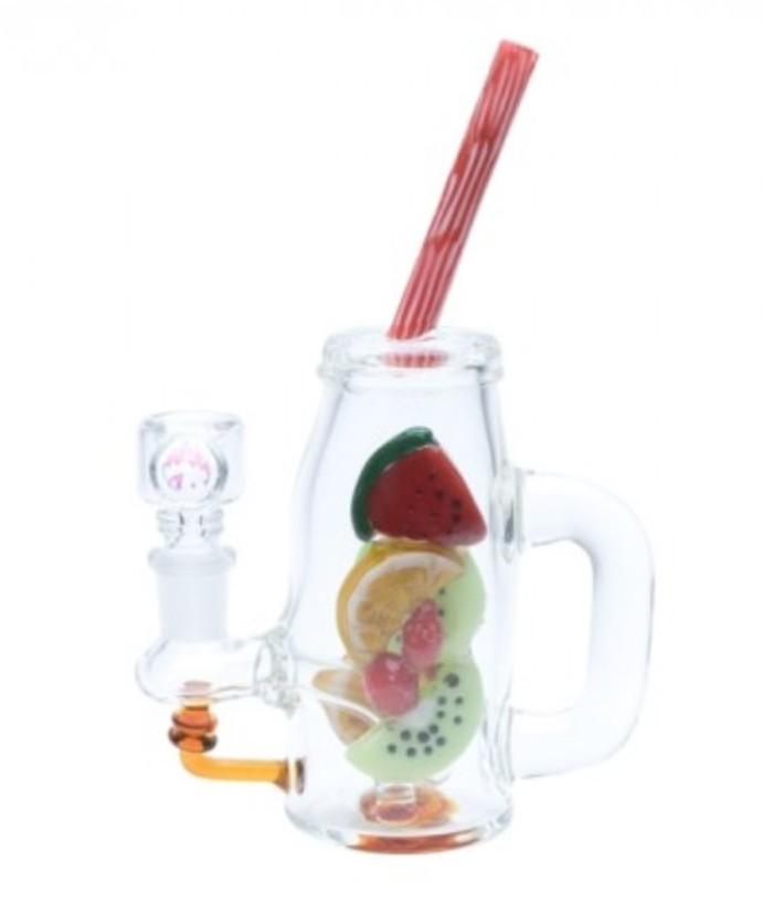 Empire Glassworks Watermelon and Orange Bubbler