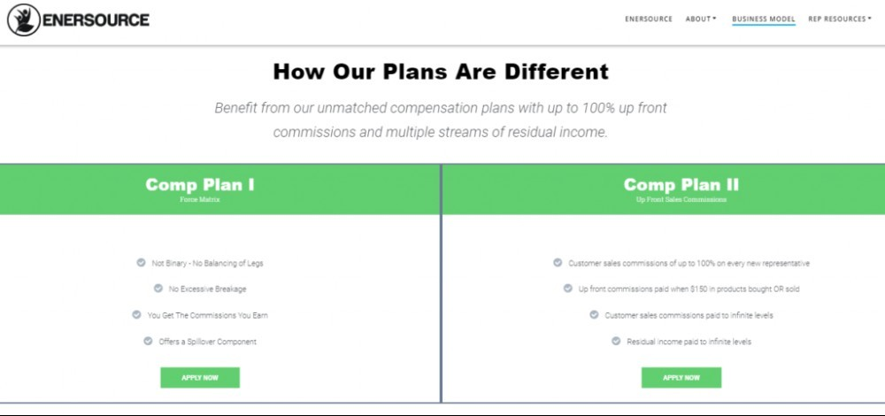 Enersource International Compensation Plans