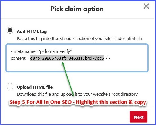 Claim a website in Pinterest - Step 5 for AIO SEO