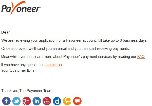 Create a Payoneer account - Application review process