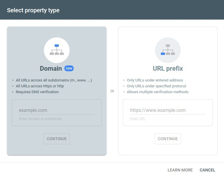 Add property to Google Search Console