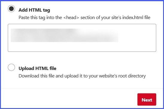 Finalizing website verification on Pinterest part 1
