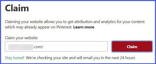 Pinterest site verification email notification