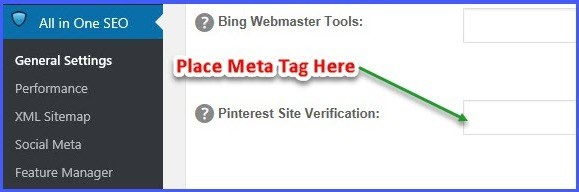 Pinterest Site Verification - All In One SEO