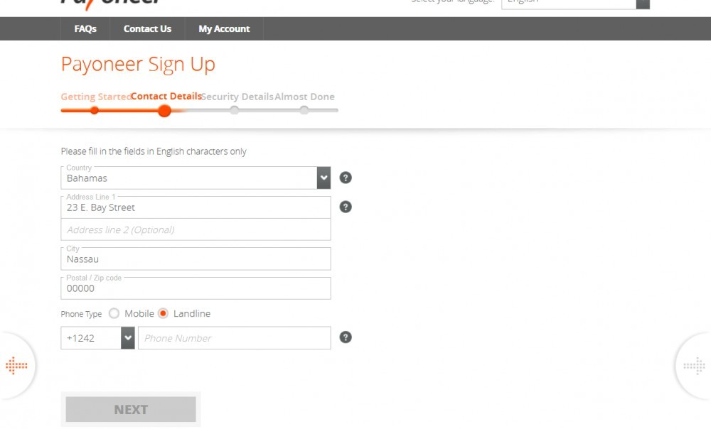 Create a Payoneer account - Enter your information