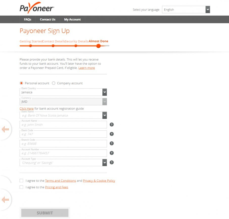 Create a Payoneer account - Register a bank account