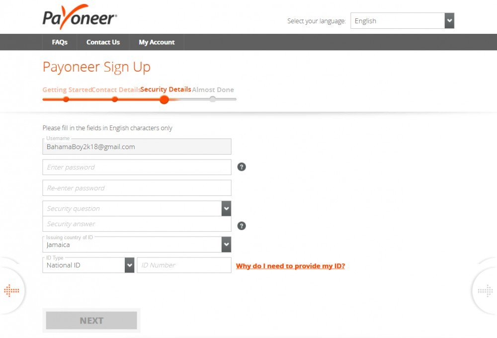 Create a Payoneer account - Enter Email & Nationality
