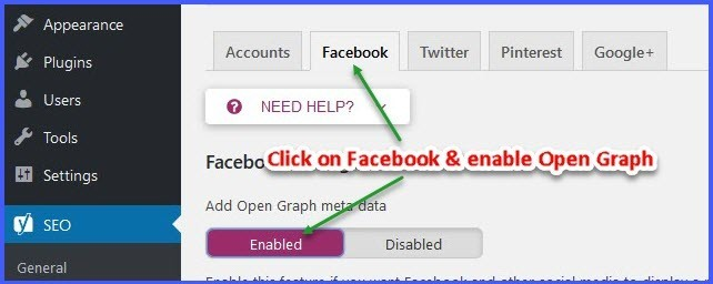Enable open graph for Yoast SEO