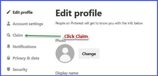Claim a business website on Pinterest - Step 2