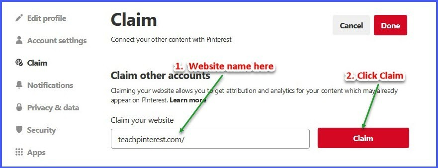 Claim your website - type website name