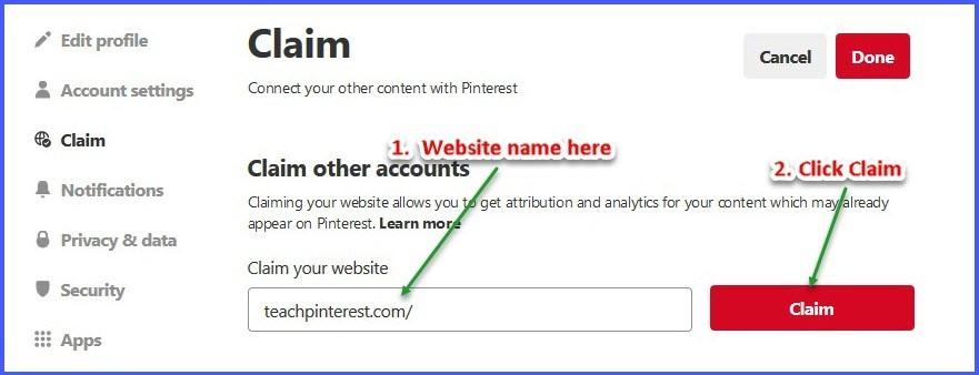 Claim a website on Pinterest - Step 3
