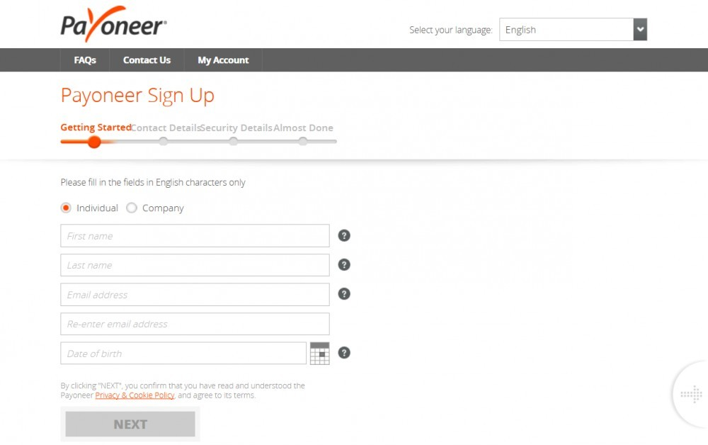 Create a Payoneer account - Sign Up Step By Step