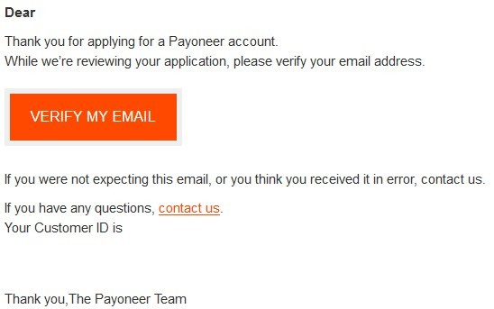 Create a Payoneer account - Email address Verification