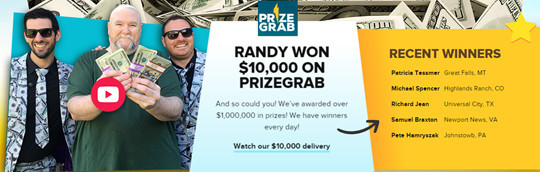 PrizeGrab Review - Randy Won On PrizeGrab