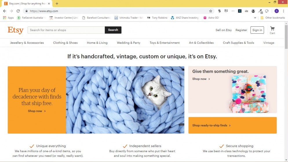 Etsy web page