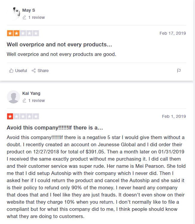 Jeunesse Reviews - Negative