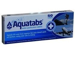 Aquatabs - Water Purification Tablets - Helps with travel and motion sickness