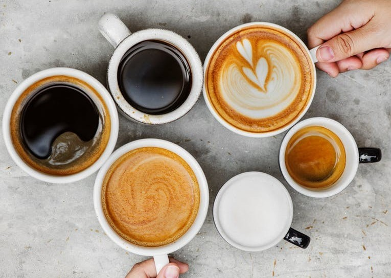 six different cups of coffee